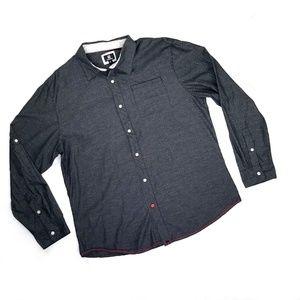 Ocean Current Gray Pen dot Striped Shirt size XL